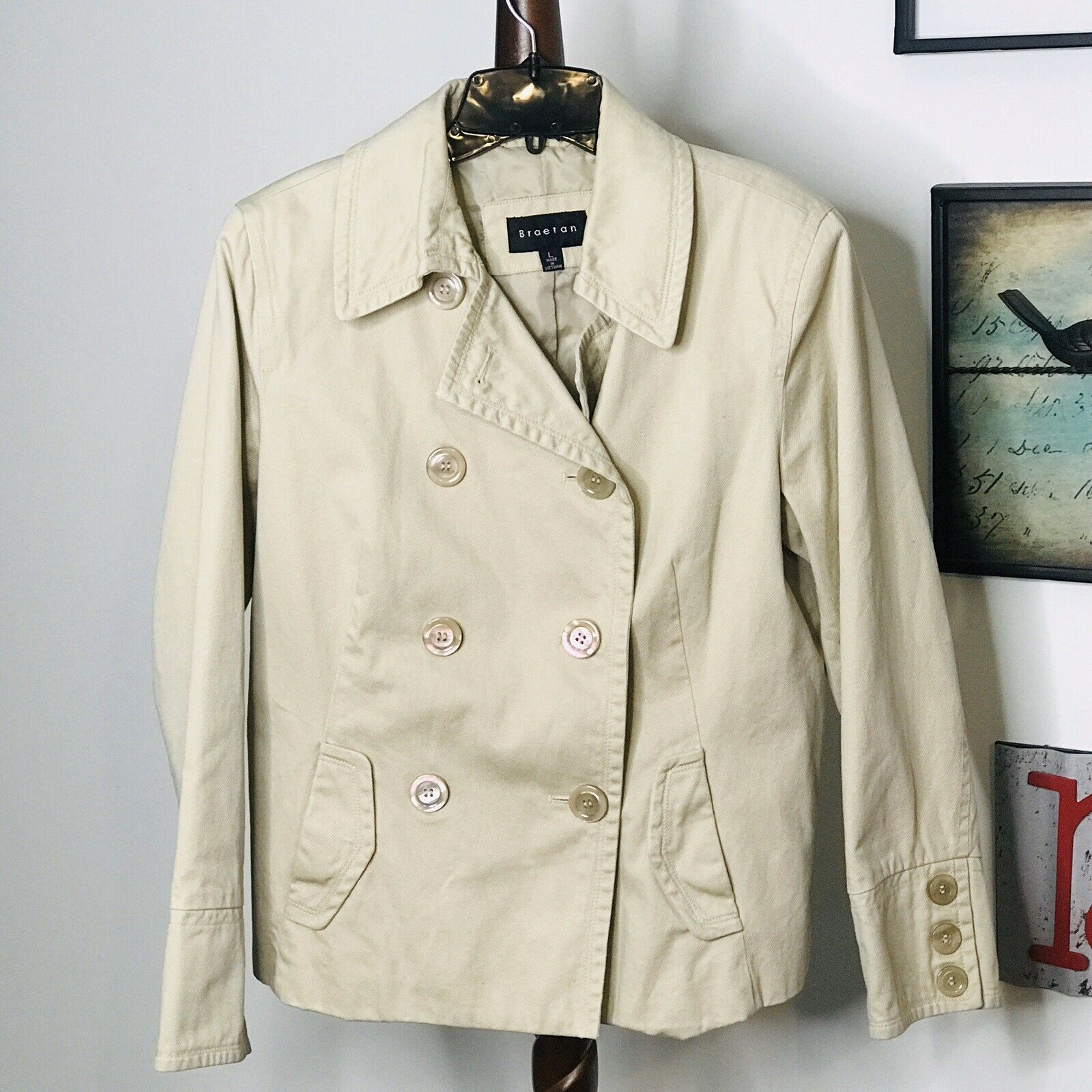 Braetan Womens Large Tan Double Breasted Lined Jacket NWOT