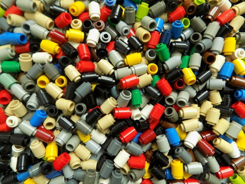 LEGO 50 Small Pieces 1x2 ROUND BRICKS mixed colors picked at random 3062b