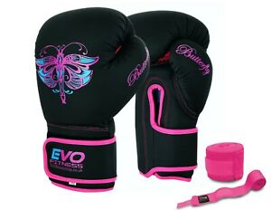 EVO-Ladies-Boxing-Gloves-Pink-MMA-Muay-Thai-Women-Training-Sparring-UFC-Girls