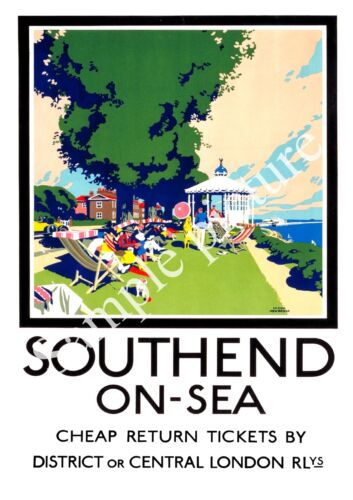 Vintage Seaside travel advertising Poster reproduction. Southend on Sea