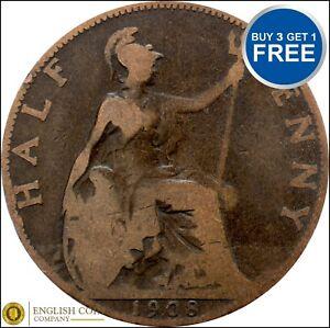 1902-To-1910-Edward-VII-Half-penny-Demi-Pennies-Choix-de-l-039-annee-date
