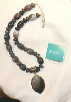 Jay King Black Grey Brown Bead 925 Sterling Silver 18 +3 Pendant Necklace