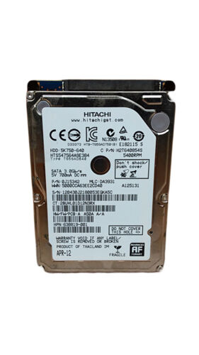 "Hitachi TravelStar 5K750 HTS547564A9E384 640GB 2.5/"" SATA II Laptop Hard Drive"