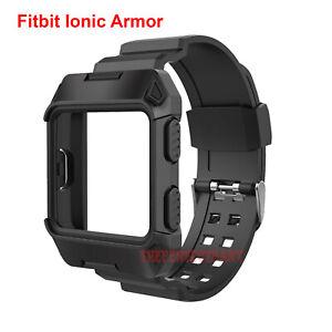Noir-Armure-pour-Fitbit-Ionique-Robuste-Bande-etui-de-protection-Grande-Bracelet-Bracelet