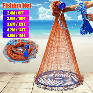 6-12FT Hand Cast Fishing Net Easy Throw Bait Strong Tire Line Mesh with Sinker