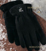 Heatlok Thermal Insulation-deer Skin Suede Leather Palms-warm Gloves-black -xl