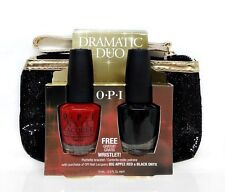 OPI- DRAMATIC Duo - OPI NL N25 Big Red Apple + T02 Black Onyx + FREE Wristlet