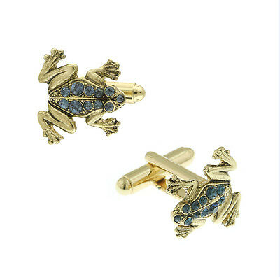 Jumping Gold Tone Blue Crystal Frog Cuff Links Cufflinks Free Same Day Shipping