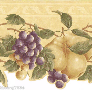Tuscan Tuscany Fruit Purple Grape Vine Pears Beige Kitchen Wall Paper Border 66999090262 Ebay