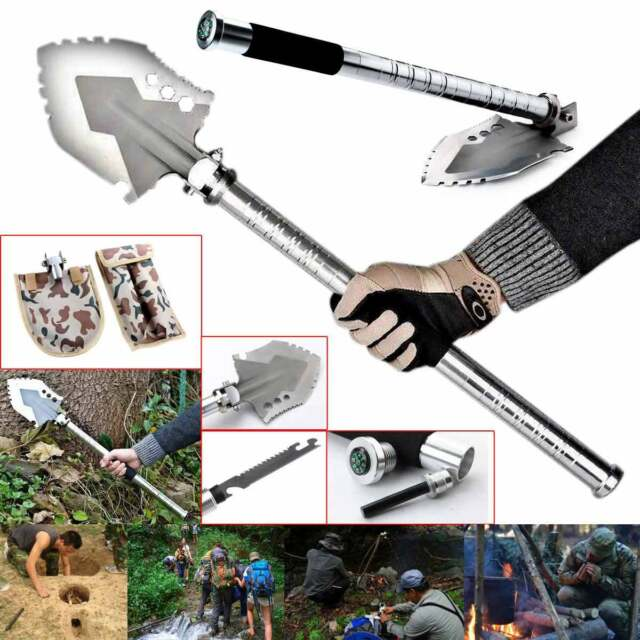 Military Survival Emergency Camping Hiking Knife Shovel Axe Saw Gear Kit Tool