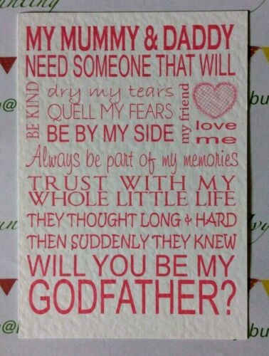 can personalise envelope WILL YOU BE My Christening card//invite FREE P+P