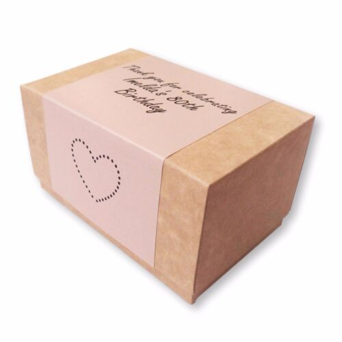 PERSONALISED KRAFT BROWN CAKE BOXES WEDDING BIRTHDAY PARTY COLOUR PRINTED