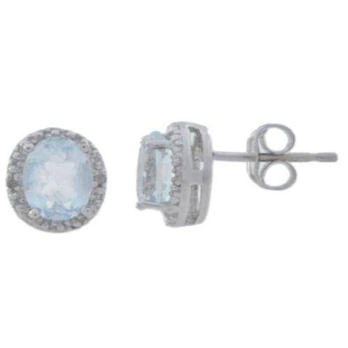 2 ct véritable Aigue-Marine /& Diamant Clous d/'oreilles ronds 14Kt or blanc