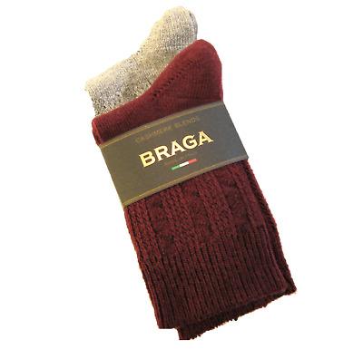 Solid Grey 2 PR Braga Italy Ladies Boot Socks Cashmere Silk Blend Dots NEW