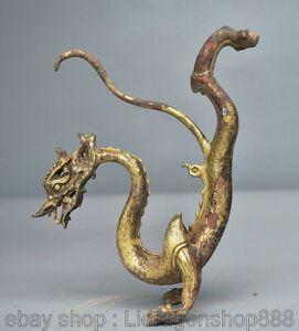 """6.8 """"Bronze Chinois 24K Doré Or Feng Shui Zodiaque Animal Stand Dragon Statue"""