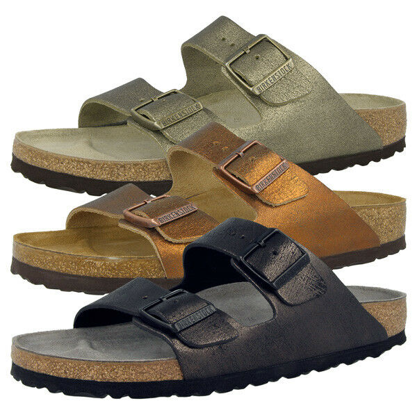 Birkenstock Arizona Naturleder Schuhe Sandale Washed Metallic Antique Pantolette