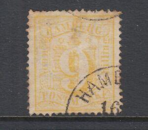 Hamburg-Sc-21-used-1864-65-9s-yellow-Numeral-perf-13-Hamburg-CDS-thin