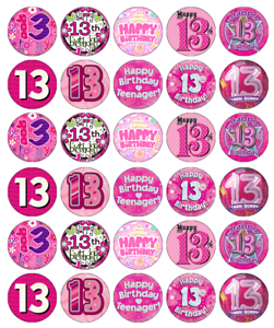 Image Is Loading 13th Birthday Girl Pink Cupcake Toppers Edible Paper