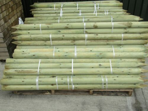 1.8m x 75mm MACHINE ROUND POINTED GARDEN TIMBER FENCE POST TREE STAKES