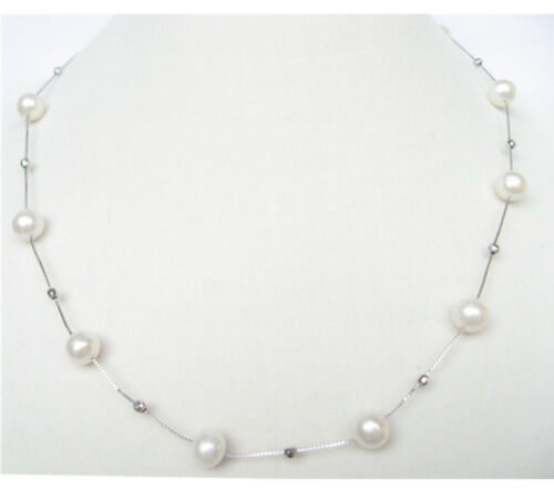 925 Sterling Silver Round White Freshwater Pearl Silver Ball box Chain Necklaces