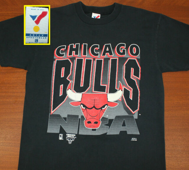 4b08becac498a3 Chicago Bulls vtg t-shirt L black 90s Artex cotton NBA basketball Michael  Jordan