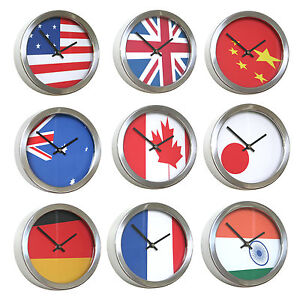 Roco verre abstract flag time zone wall clocks ebay for Furniture zone jamaica ny