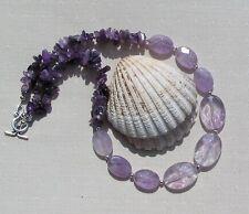 "Ametrine & Amethyst Crystal Gemstone Chunky Statement Necklace ""Sweet Violet"""