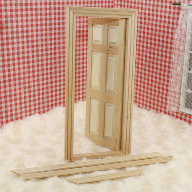 1/12 Unpainted Dollhouse Miniature Wooden Interior With Frame Door 6-Panel X7Y1