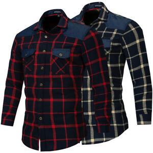 Mens-Denim-Shirt-100-Cotton-Breathable-Workwear-Long-Sleeve-Work-Casual-Shirts