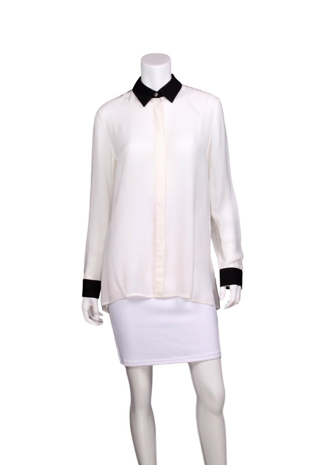 THE ROW Weiß & schwarz Farbe Block Collarot Long Sleeve Button-Up Blouse - US 4