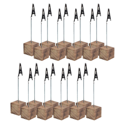 20x Wood Base Wedding Table Numbers Clip Holder Place Name Card Memo Stand