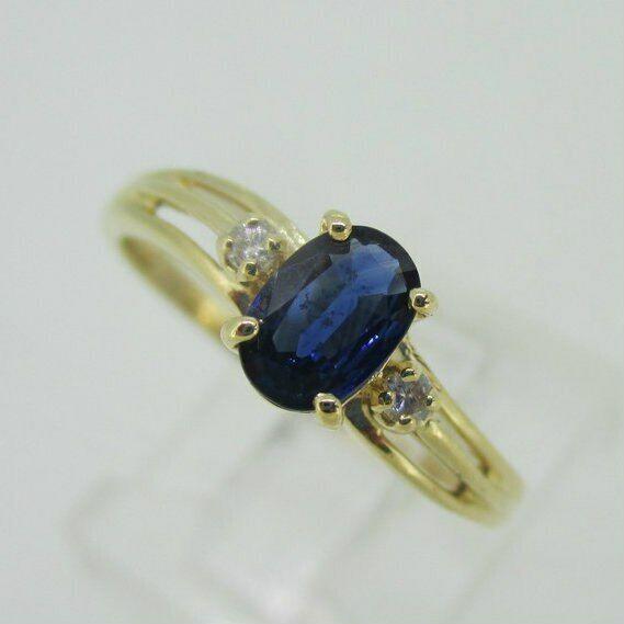 14K Yellow gold Sapphire Diamond Accent Ring Size 6.75