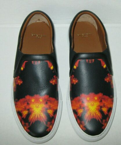 Givenchy Fire Flame Print Leather Slip On Sneakers