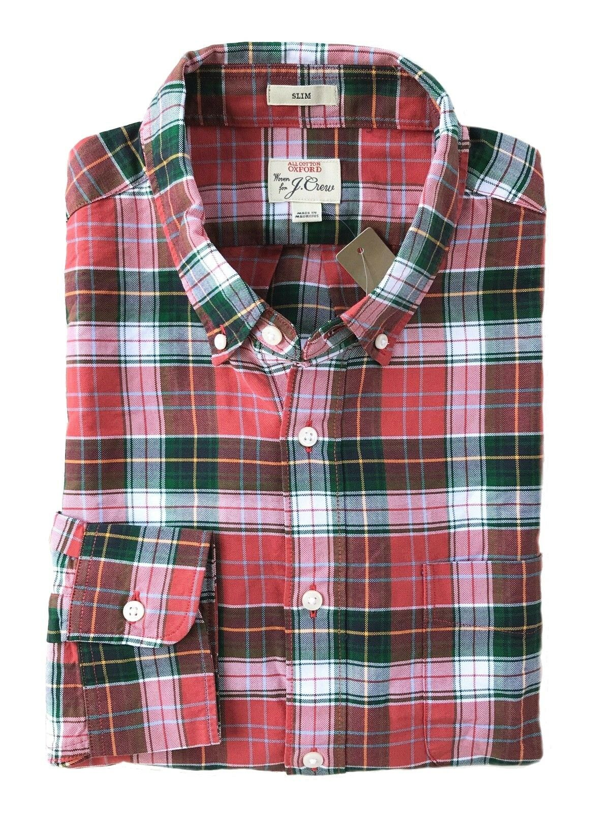 J Crew - Mens L Slim Fit - NWT Red Green White Yellow Tartan Plaid Oxford Shirt