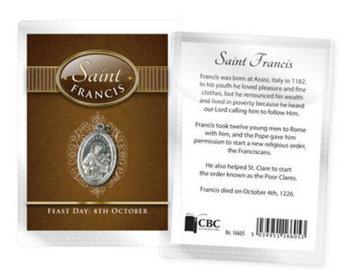ST FRANCIS MEDAL AND BIOGRAPHY CARD IN A PLASTIC KEEPSAKE WALLET OTHERS LISTED