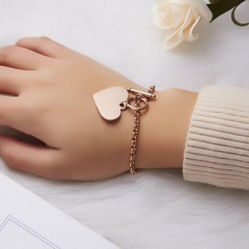 Personnalisé Gravé en Acier Inoxydable Personnalisé Bracelet Coeur Charms Chain Bracelet
