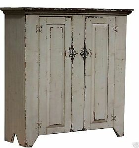Image Is Loading Primitive Jelly Cupboard Country Farmhouse Painted Cabinet Rustic