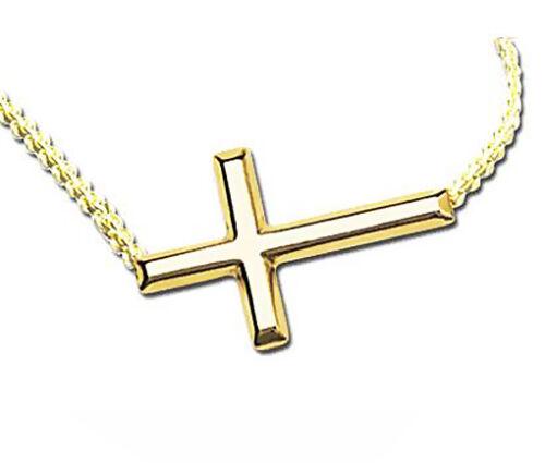 Sideways Cross environ 45.72 cm 14K Or Jaune Croix Collier Réglable Chaîne 16-18 in