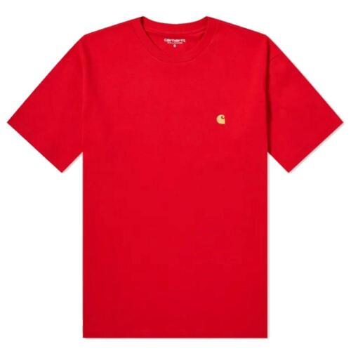 BRAND NEW MENS CARHARTT WIP CLASSIC LOGO S//S Chase T-shirt Etna Red I026391
