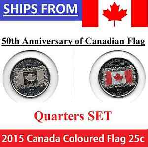 2015-25-cent-SET-50th-Anni-Canadian-Flag-Canada-2-coins-Color-and-Non-Coloured