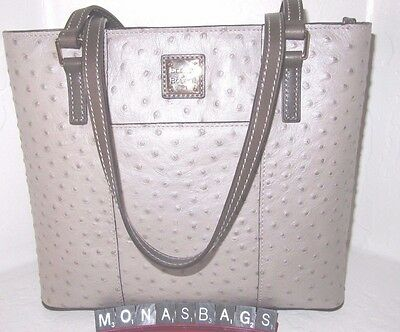 Dooney & Bourke Small Lexington Oyster Grey Ostrich Leather Tote Bag NWT $228
