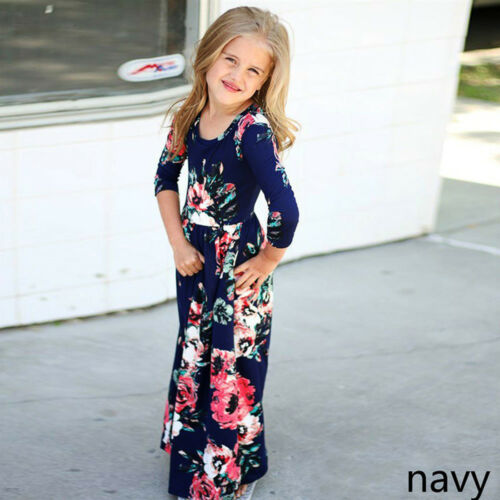 Girls Long Sleeve Maxi Dress Bridesmaid Wedding Party Pageant Clothes Outfits