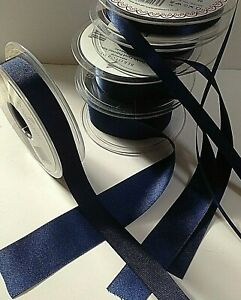 Berisfords-NAVY-13-9590-blue-Satin-Sheer-amp-Grosgrain-Ribbon-3mm-to-70mm