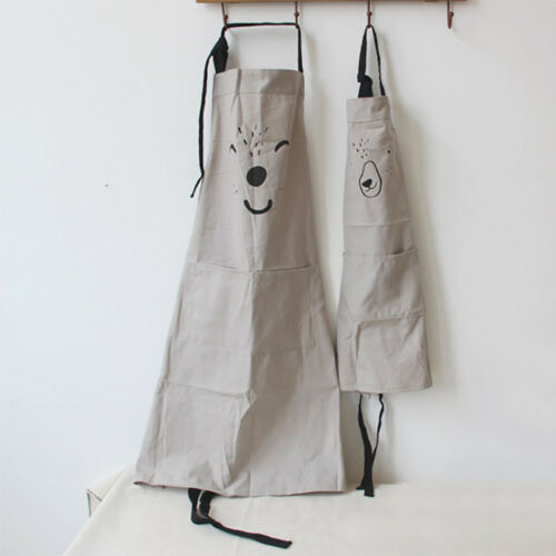 Parent Child Apron Cartoon Cotton Linen Kitchen Cooking Bake Cloth Apron Hot