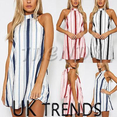 Ausdrucksvoll Uk Womens Striped Mini Dress Turtle Neck Ladies Summer Slip Sun Dress Size 6-14 Neue Sorten Werden Nacheinander Vorgestellt