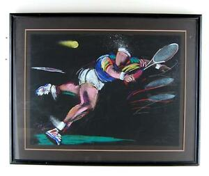Limited-Edition-Terry-Rose-Tennis-Player-Sports-Lithograph-Art-Print-53-Of-100