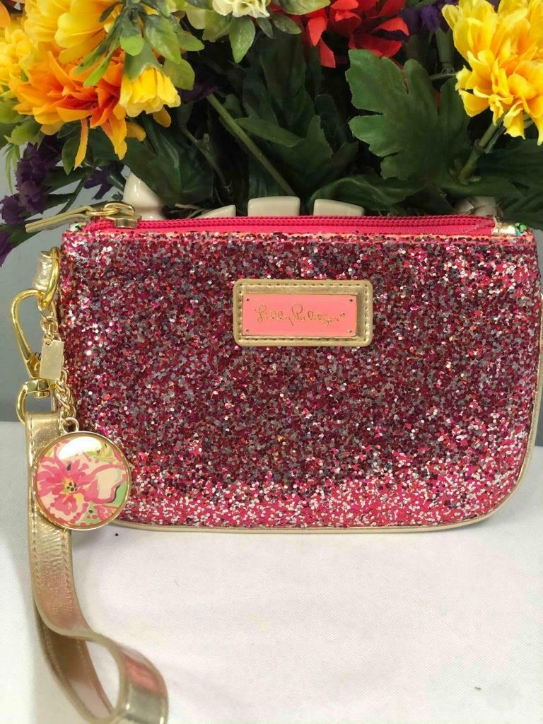 LILLY PULITZER Pink Glitter Gold Leather Trim Wristlet Coin Card Purse