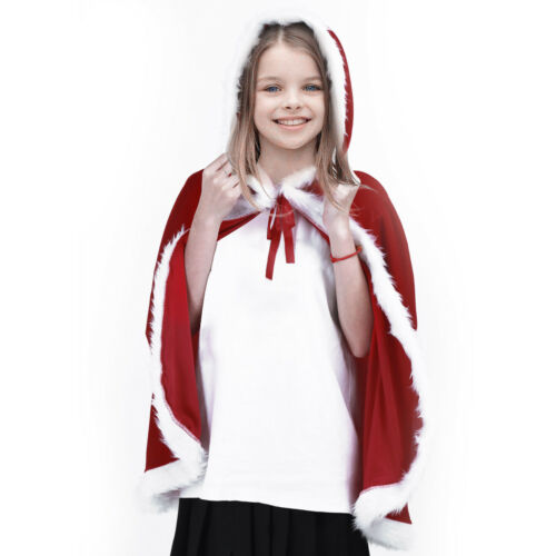 Kids Childrens/' Christmas Costume Santa Hooded Cosplay Cape Robe for Boy Girl