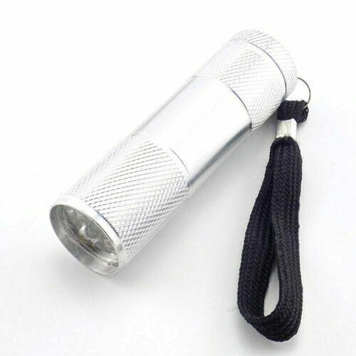 Mini LED Flashlight 395 UV Ultra Violet Torch Aluminum 9-LED Light for Camping