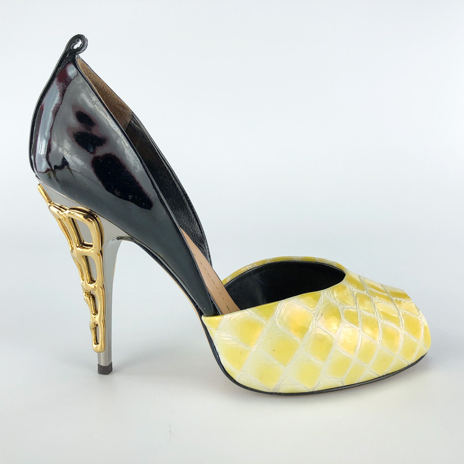 Giuseppe Zanotti Womens High Heels 5.5 Peep Toe Black Yellow Yellow Yellow Stiletto gold Pump 876bf9